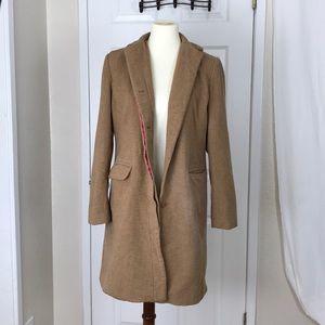 GAP Long Jacket Tan 55% Wool w Lining Size Medium